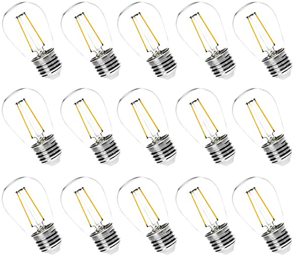 Hyperikon LED S14 Bulbs, 2W Filament, Vintage Edison String Lights, E26, Non Dimmable, 15 Pack