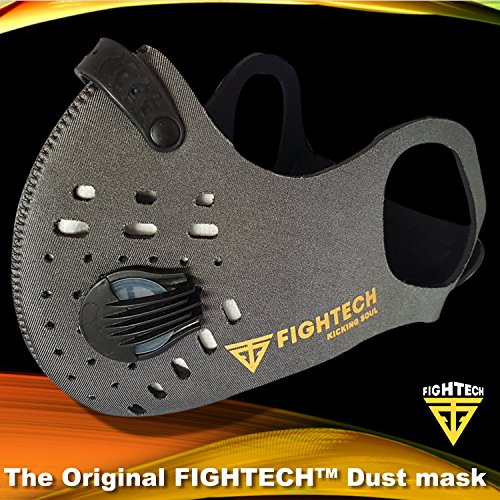 N99 Dust Mask by FIGHTECH with 4 Activated Carbon N99 Filters & 2 Air Valves. Dustproof Respirator Face Mask Protects from Dust, Allergy and Pollution. Good for Woodwork and Outdoor Activities (GRY) by FIGHTECH (Image #1)