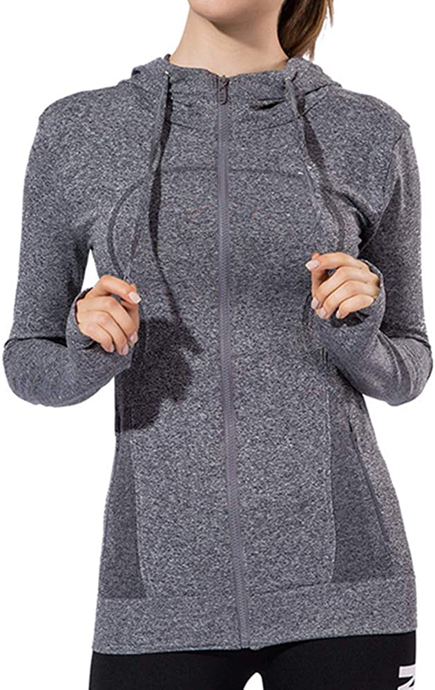 Lemedy Women Long Sleeve Hoodie Zip Up Running Shirts Jacket Top with Pockets