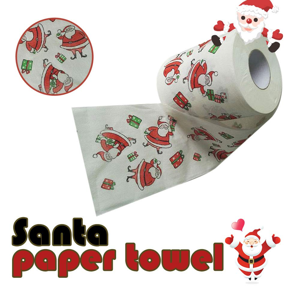 sunnymi Christmas Bathroom Toilet Kitchen Supplies, Christmas Pattern Roll Paper Print Interesting Toilet Paper Table Kitchen Paper Towel (1 pcs)