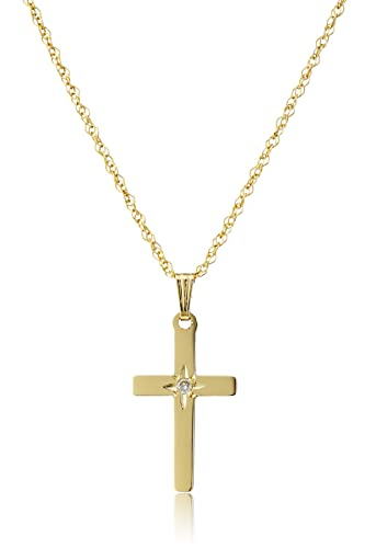 """14k Yellow Gold Solid Diamond-Accented Cross Pendant Necklace, 18"""""""