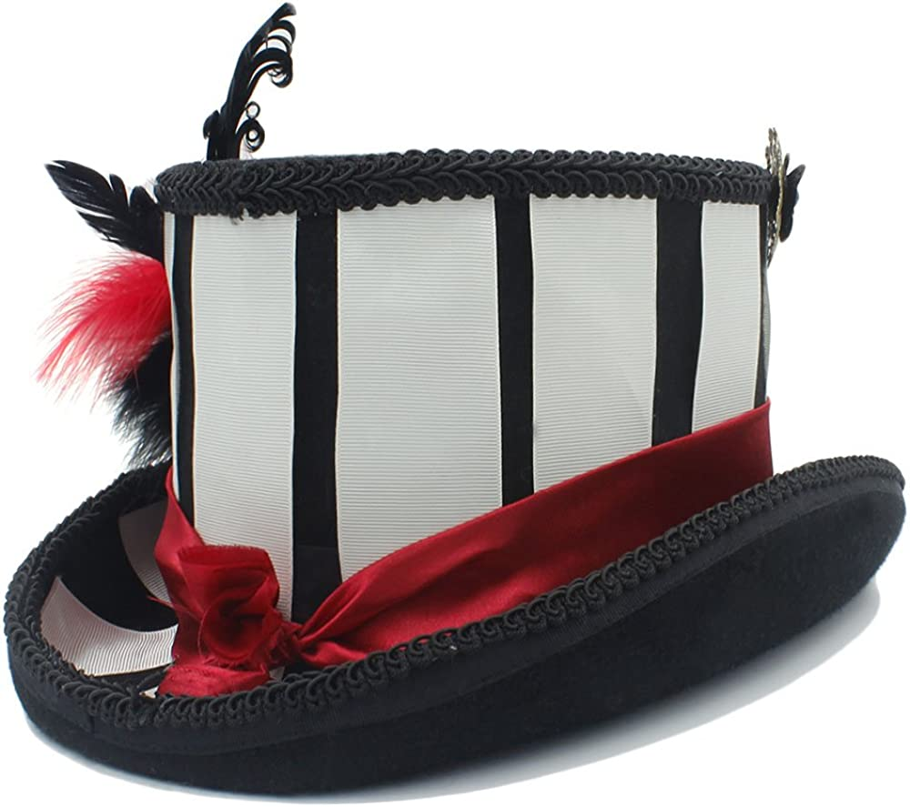 Unbekannt Boler Handgemachte Wolle Frauen Steampunk Zylinder for Lady Steampunk traditionelle Biber Party Hochzeit Hut