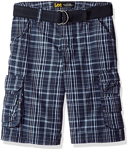 (LEE Boys' Little' Dungarees Belted Wyoming Cargo Short, Blue Nights Plaid, 4)