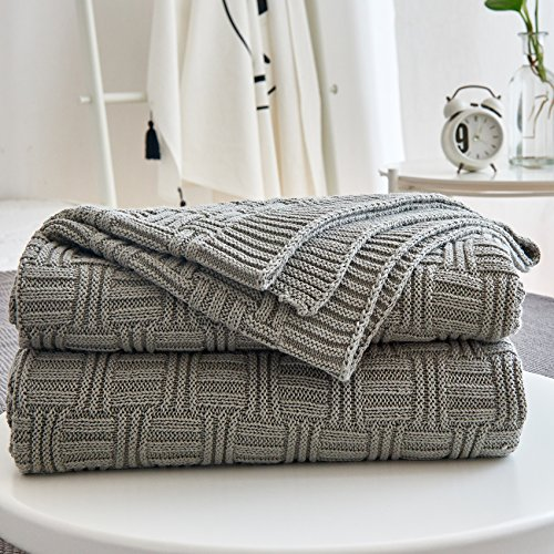 Cotton Cable Gray Knit Throw Blanket for Couch Chairs Bed Beach , Home Decorative Grey Blanket , 50 x 60 Inch Gift a Washing (Knitted Throw)