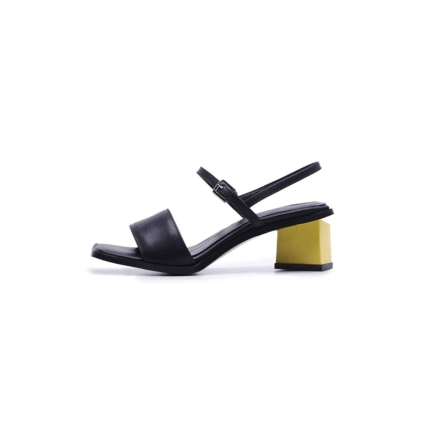 Black Peep Toe High Heels Slingback Mixed colors Summer shoes Lady Concise Party Elegant Sandals