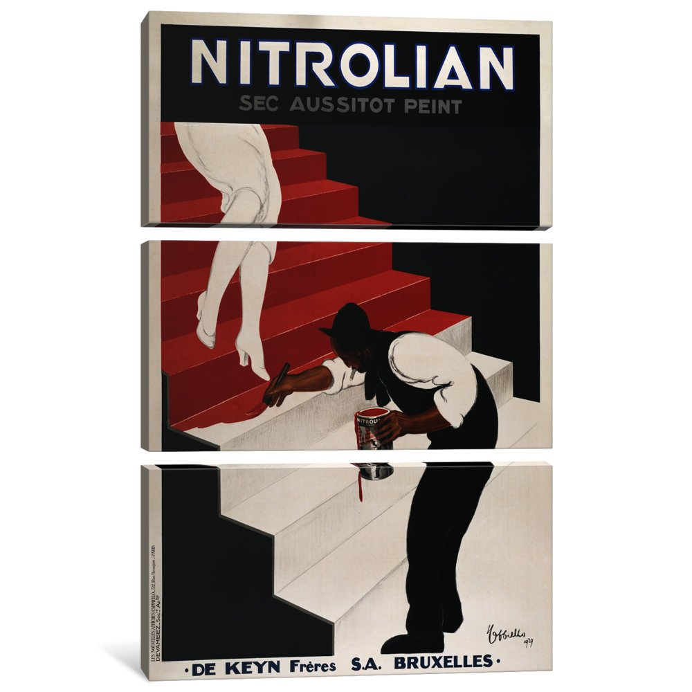 Icanvasart 3 Piece Nitrolian Vintage Ad Poster Canvas Print By Unknown Artist 1 5 X 40 X 60 Inch