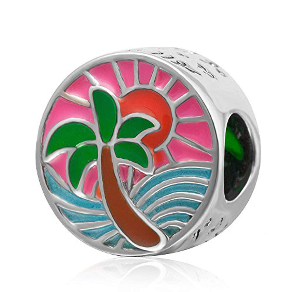 Tropical Sunset Charm 925 Sterling Silver Palm Tree Ocean Sun Beads Sea Waves Charms
