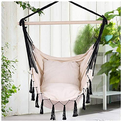 KCPer US-Direct Hammock Swing Chair Hanging Rope Chair Outdoor Indoor Hammock Net Chair for Kids Baby Adult, Camping Chair with Two Cushions