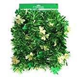 st. patrick's day Happy Tinsel 9 Foot Green Garland Decoration with Gold & Green Clovers
