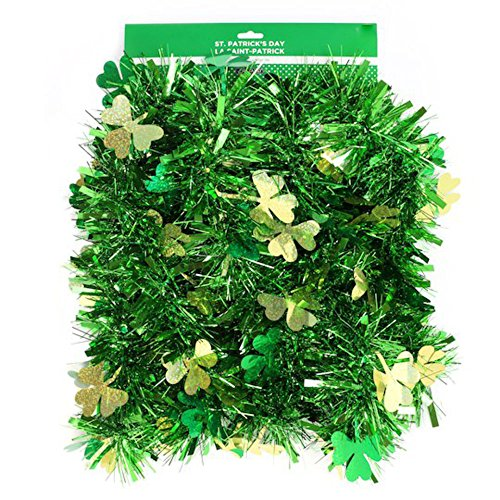 st. patrick's day Happy Tinsel 9 Foot Green Garland Decoration with Gold & Green Clovers by st. patrick's day