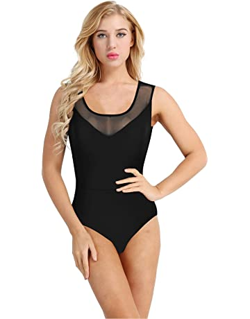 iixpin Justaucorps Gymnastique Classique Femme Bodys Jumpsuit de Gym Sport Costume  de Danse Yoga sans Manches 6cc2811bee0