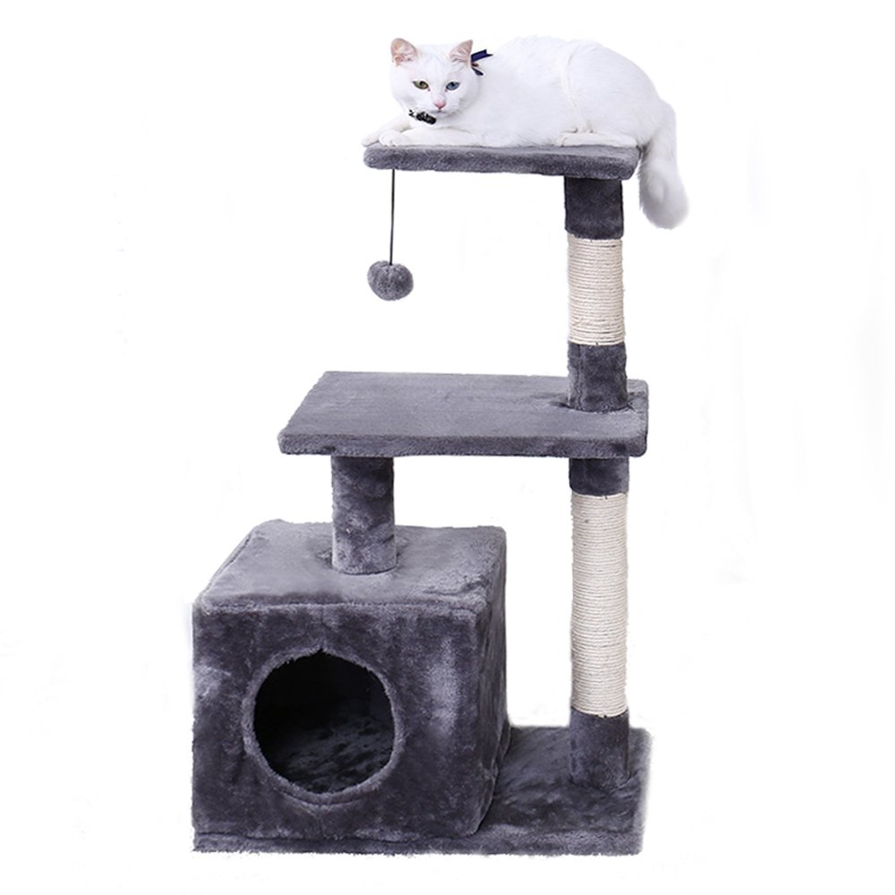 PAWZ Road 34'' Cat Tree Activity Tower Condo Stand with Deluxe Scratching Posts, Natural Sisals Gray