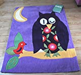 Ustide Cute Cartoon Rug For Kids Handmade Rug Purple Owl Area Rug Contemporary Carpet Soft Super Durable Floor Rug