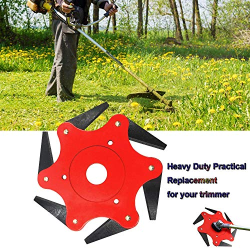 Biutfly Trimmer Head Cutter 6 Steel Grass Steel Blades Razors 65Mn Trimmer Head Cutter for Brush Cutters Mowing Head Tool (Red)