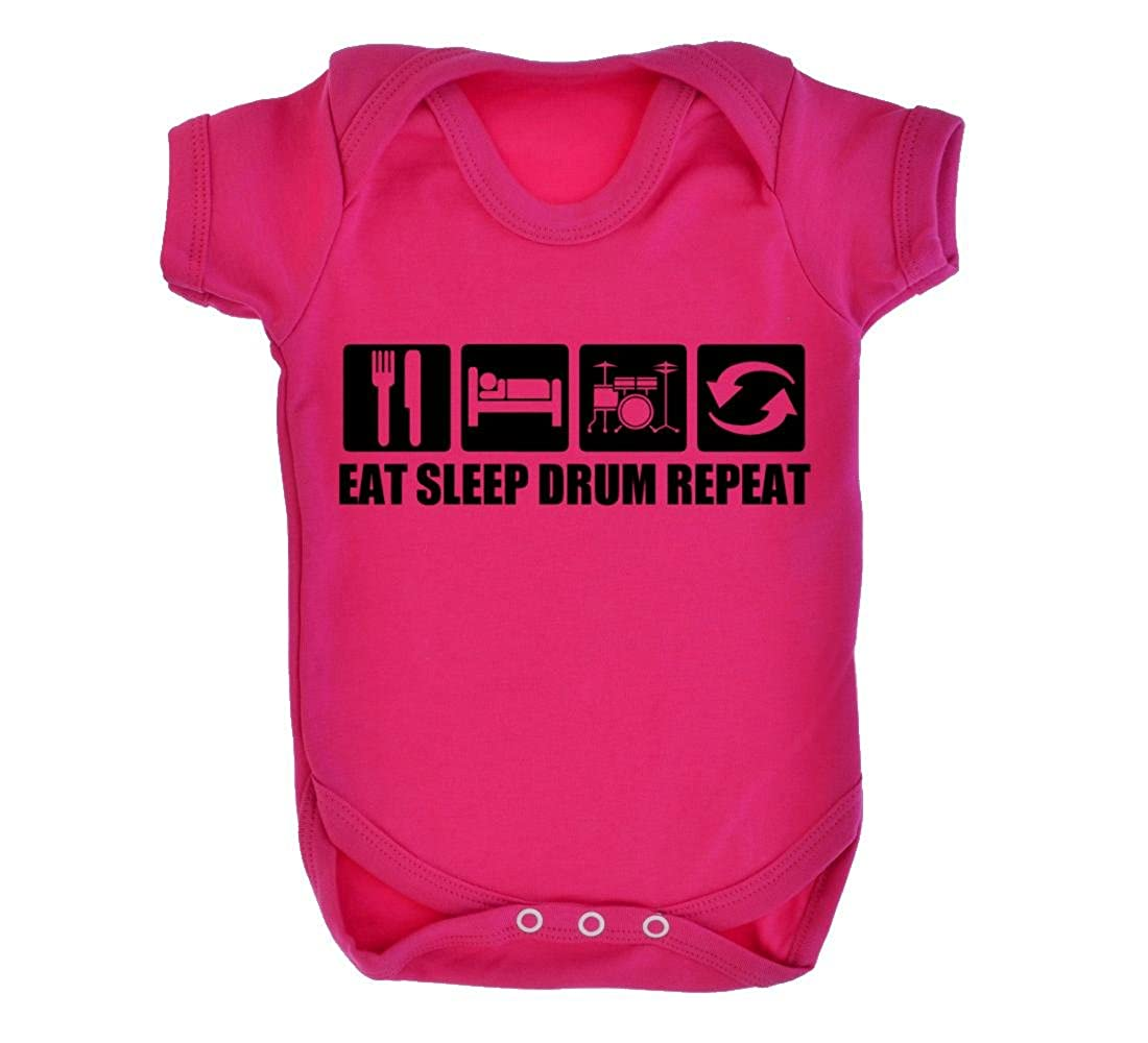2751a698daac Eat Sleep Drum Repeat Design Baby Bodysuit Cerise with Black Print ...