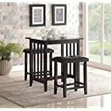 Roundhill 3-Piece Counter Height Dining Set with Saddleback Stools, Black