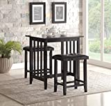 High Kitchen Table Sets Roundhill Furniture 3-Piece Counter Height Dining Set with Saddleback Stools, Black