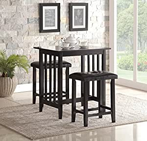 Amazon Com Roundhill Furniture 3 Piece Counter Height