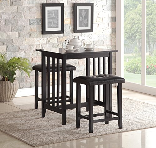 3 Piece Kitchen Dinette (Roundhill Furniture 3-Piece Counter Height Dining Set with Saddleback Stools, Black)