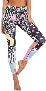 VEA-DE Calzini da Gamba Calda, Pantaloni Sportivi della Tuta delle Donne Stampate Geometriche di Spinta delle Ghette dei Pantaloni di Yoga