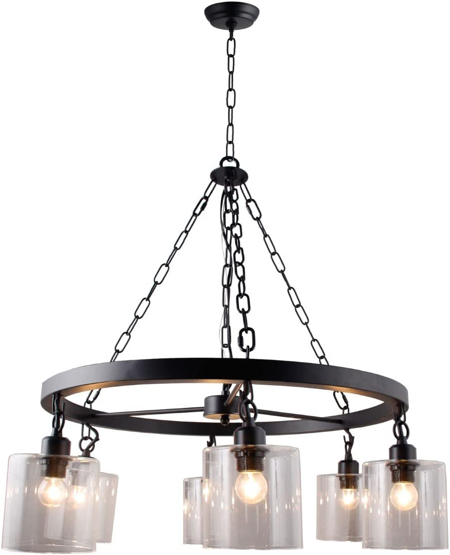 Wagon Wheel Chandelier with Hanging Mason Glass Filament Jar Pendant Lamp Transitionnal 6 Light Country Rustic Style Rubbed Bronze