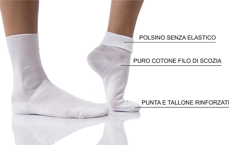 38-40 Bianco PETTI Artigiani Italiani Calzini Donna Senza Elastico Sanitari Per La Circolazione e Per Diabetici