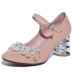 Nine Seven Patent Leather Women's Square Toe Exquisite Chunky Heel Rhinestones Handmade Dress Pump (5, black-no rhinestones)