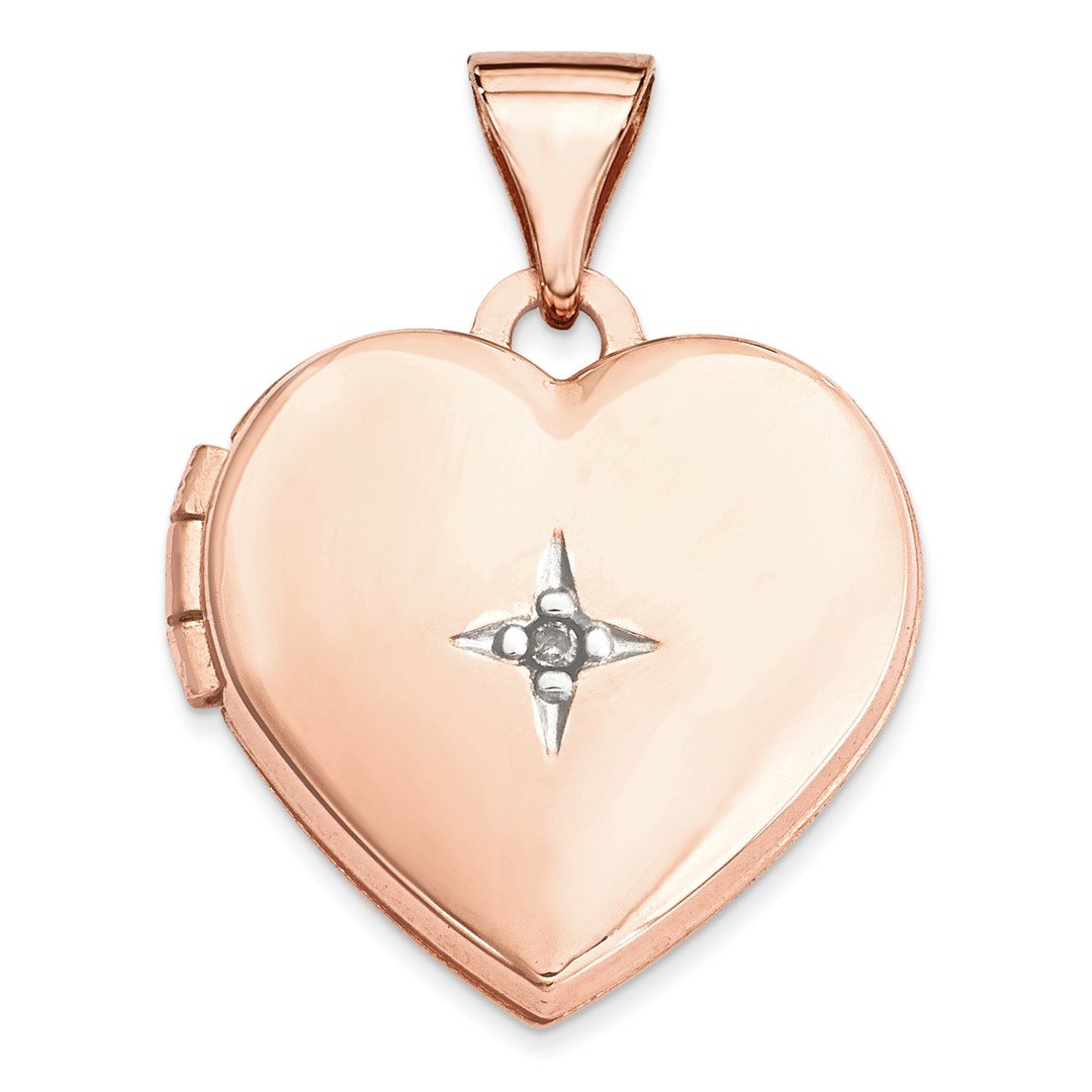 ICE CARATS 14k Rose Gold 15mm Heart Diamond Photo Pendant Charm Locket Chain Necklace That Holds Pictures Fine Jewelry Gift Set For Women Heart