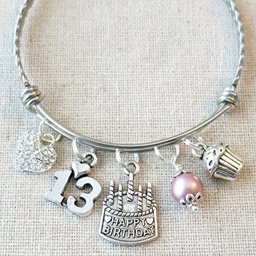 Happy 13th Birthday Heart Charm Bracelet BIRTHDAY GIRL Teenage Daughter Gift Ideas