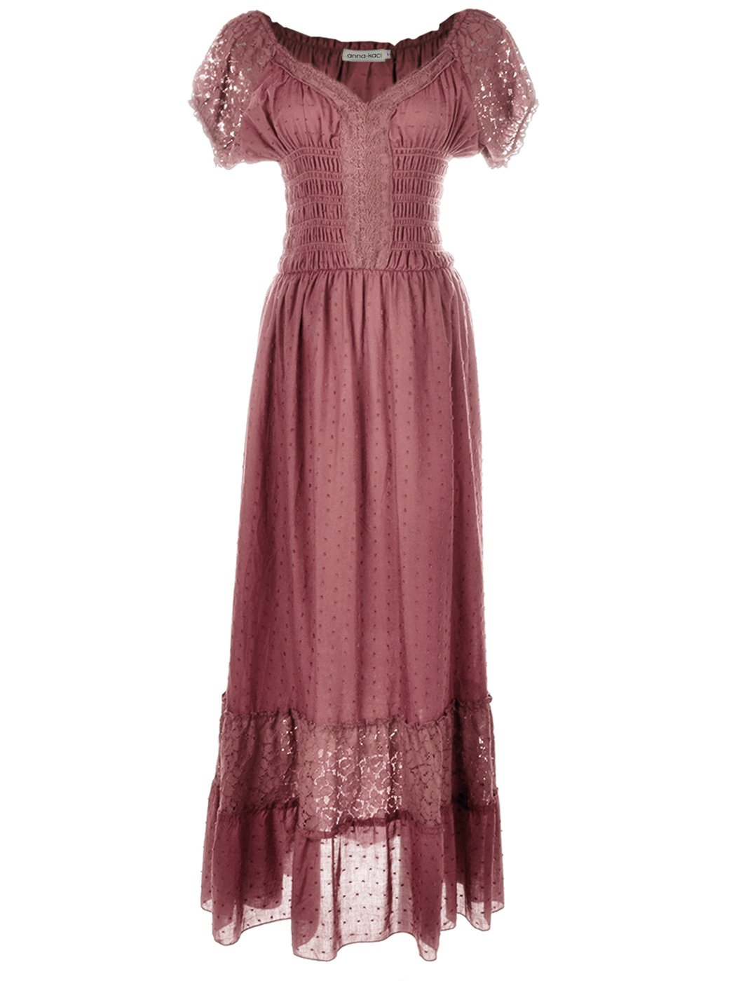 Renaissance Maiden Inspired Pink Lace Cap Sleeve Trim Chemise Underdress - DeluxeAdultCostumes.com