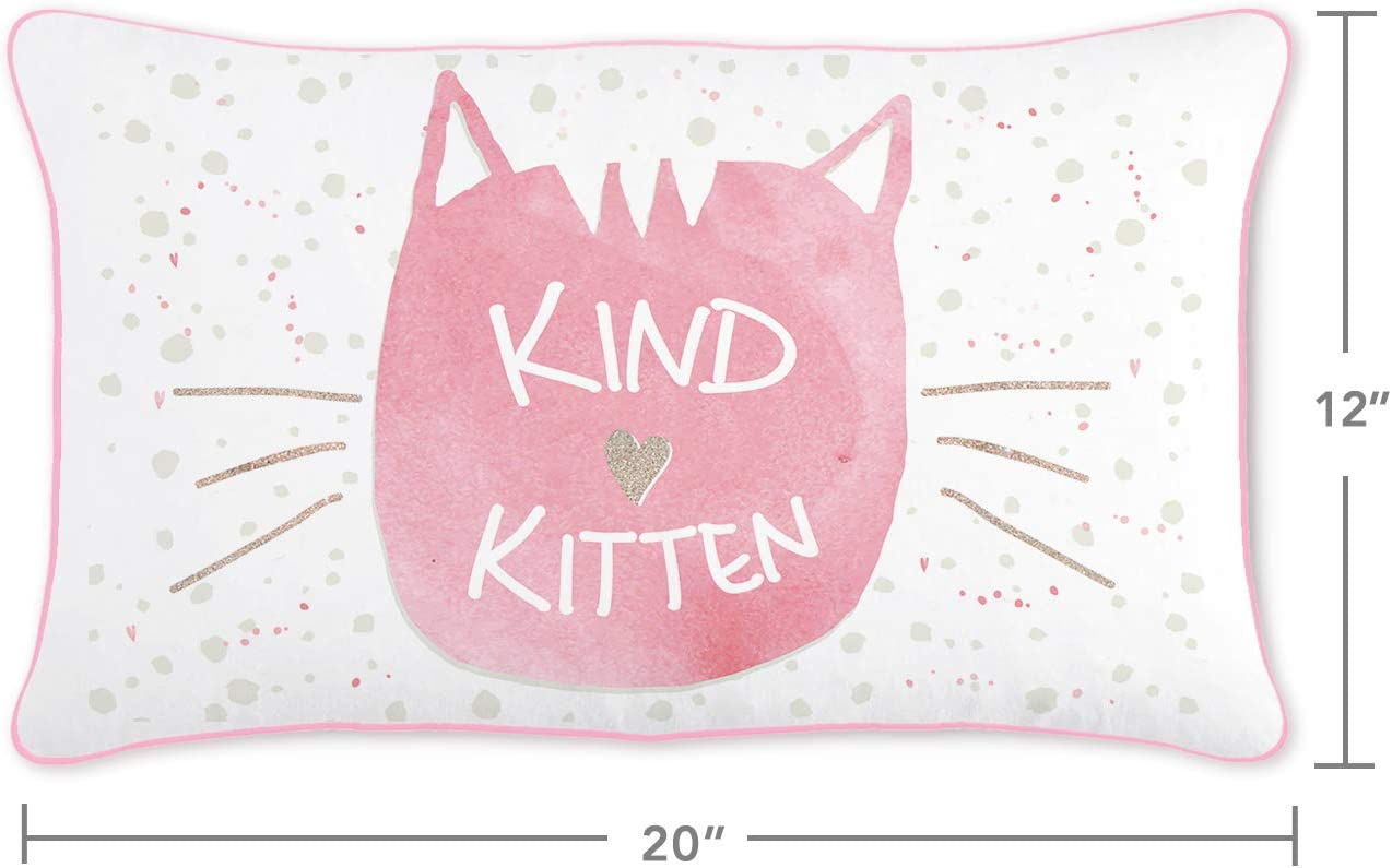 Kind Kitten Kids Pillow Cover with Reversible Pink and Gold Color-Changing Mermaid Sequins Cover ONLY