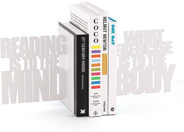 Balvi Fermalibri Mind Exercise Colore Bianco Set 2 reggilibri Decorativi Metallo