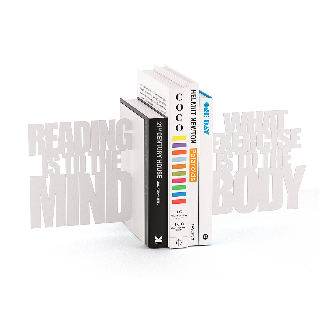 Balvi Sujeta Libros Mind Exercise Color Blanco Set 2 sujeta Libros Decorativos Metal Balvi Gifts S.L.