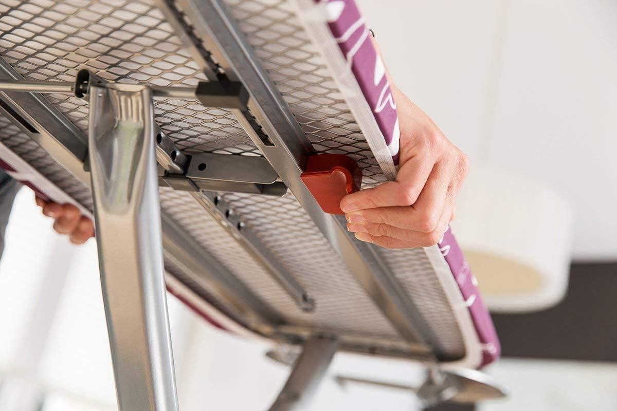 Tabla de planchar con sistema de seguridad Click Stop Rosa Tendedero Alumix dimensiones: 114 x 34 cm Plateado Acero y Aluminio altura ajustable hasta 95 cm Vileda Smart