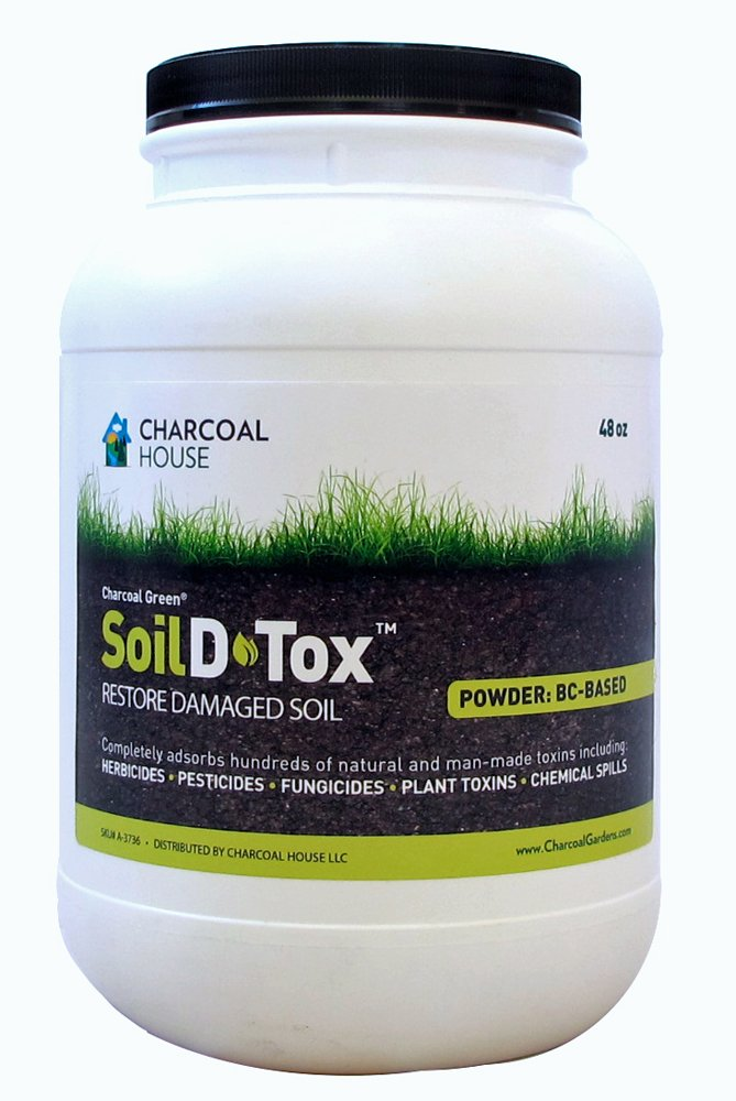 3lb/1gal Jug Charcoal Green Soil D•Tox Coal Based Powder Especially manufactured for agricultural applications, Effectively decontaminates soil from chemical spills, pre-emergent herbicides more