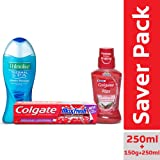 Palmolive Thermal Spa Mineral Massage Shower Gel - 250ml + Colgate MaxFresh Anticavity Toothpaste Gel, Spicy Fresh - 150gm + Colgate Plax Spicy Fresh Mouthwash – 250 ml