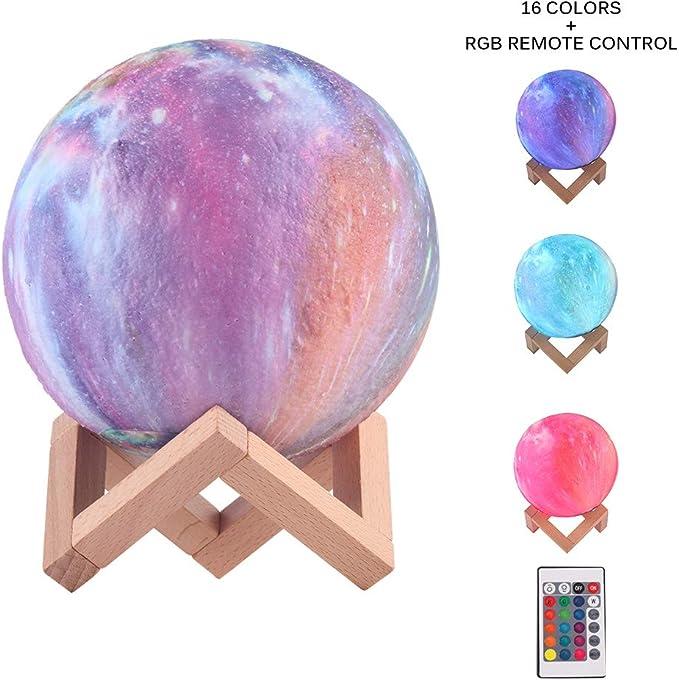 Regalo para Ni/ños L/ámpara de Luna en Impreso en 3d 16 Colores Cambiantes de Luz Nocturna RGB con Control Remoto y T/áctil Saturno USB Recargable 15 CM L/ámpara Decorativa de Dormitorio