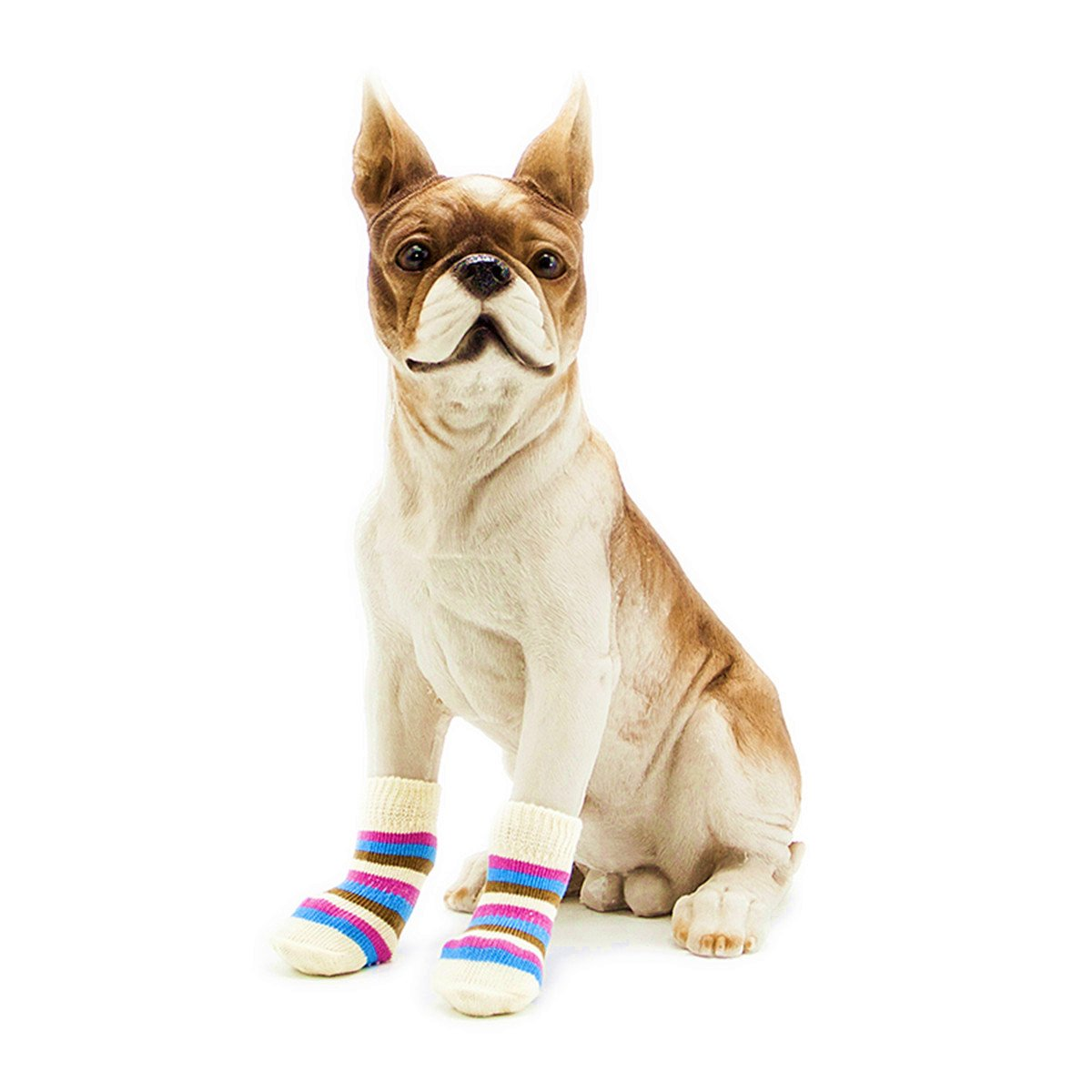 Pet Heroic 8 Sizes Anti-Slip Dog Socks Cat Socks Dog Cat Paw Protector with Rubber Reinforcement Traction Control for Indoor Wear Fit Extra Small to Extra Large Dogs Cats