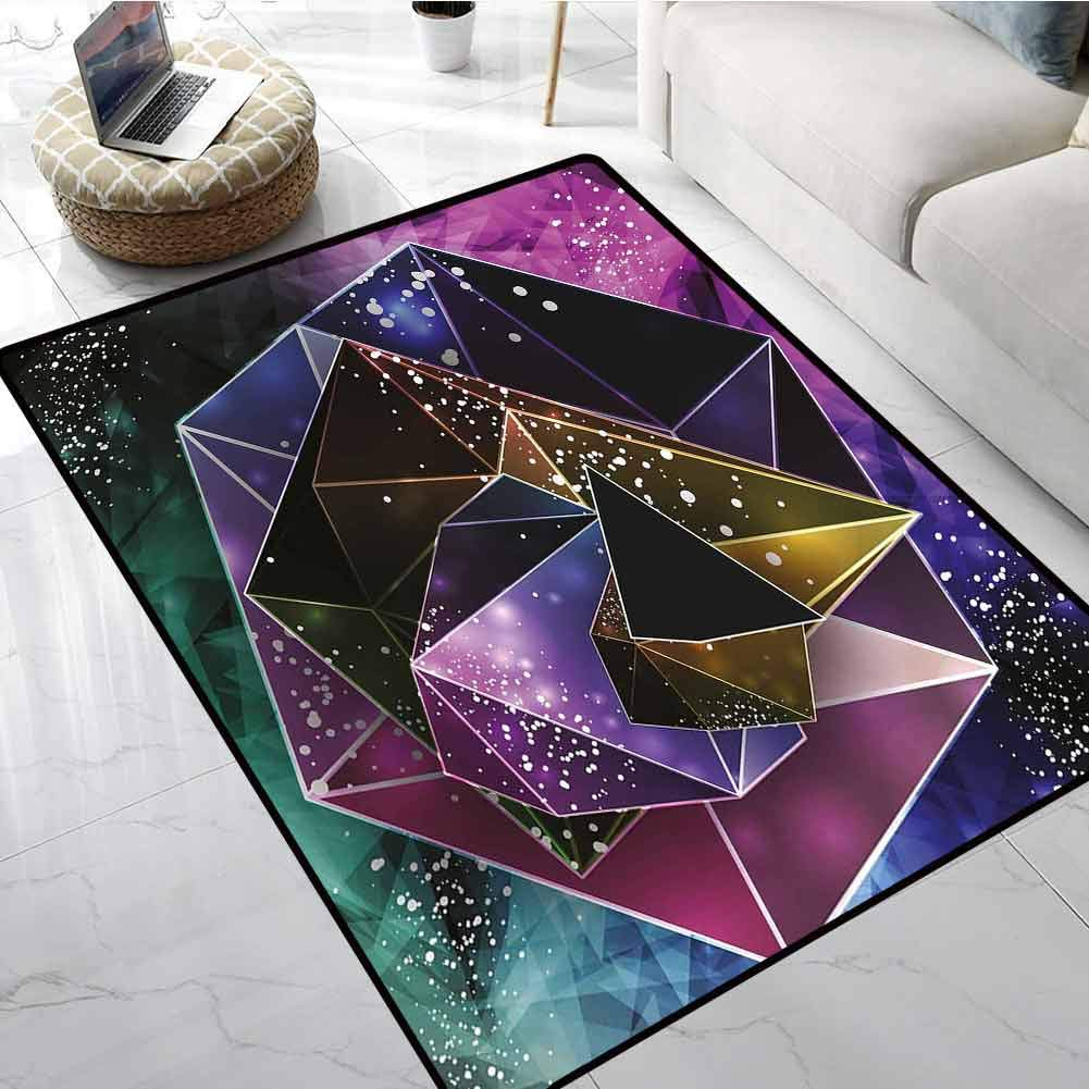 Modern Non Slip Absorbent Carpet Polygonal Cosmic Backdropwith Psychedelic Triangles Cyrstals Futuristic Illustration Office Chair Floor Mat Foot Pad 36 X 48 Inch
