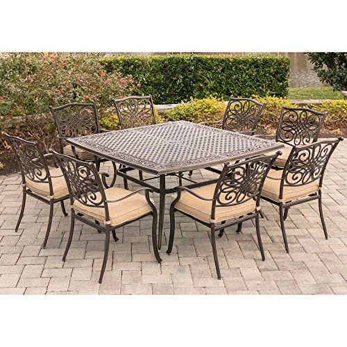 Hanover Traditions 9-Piece Dinning Set Outdoor Furniture Natural Oat TRADDN9PCSQ