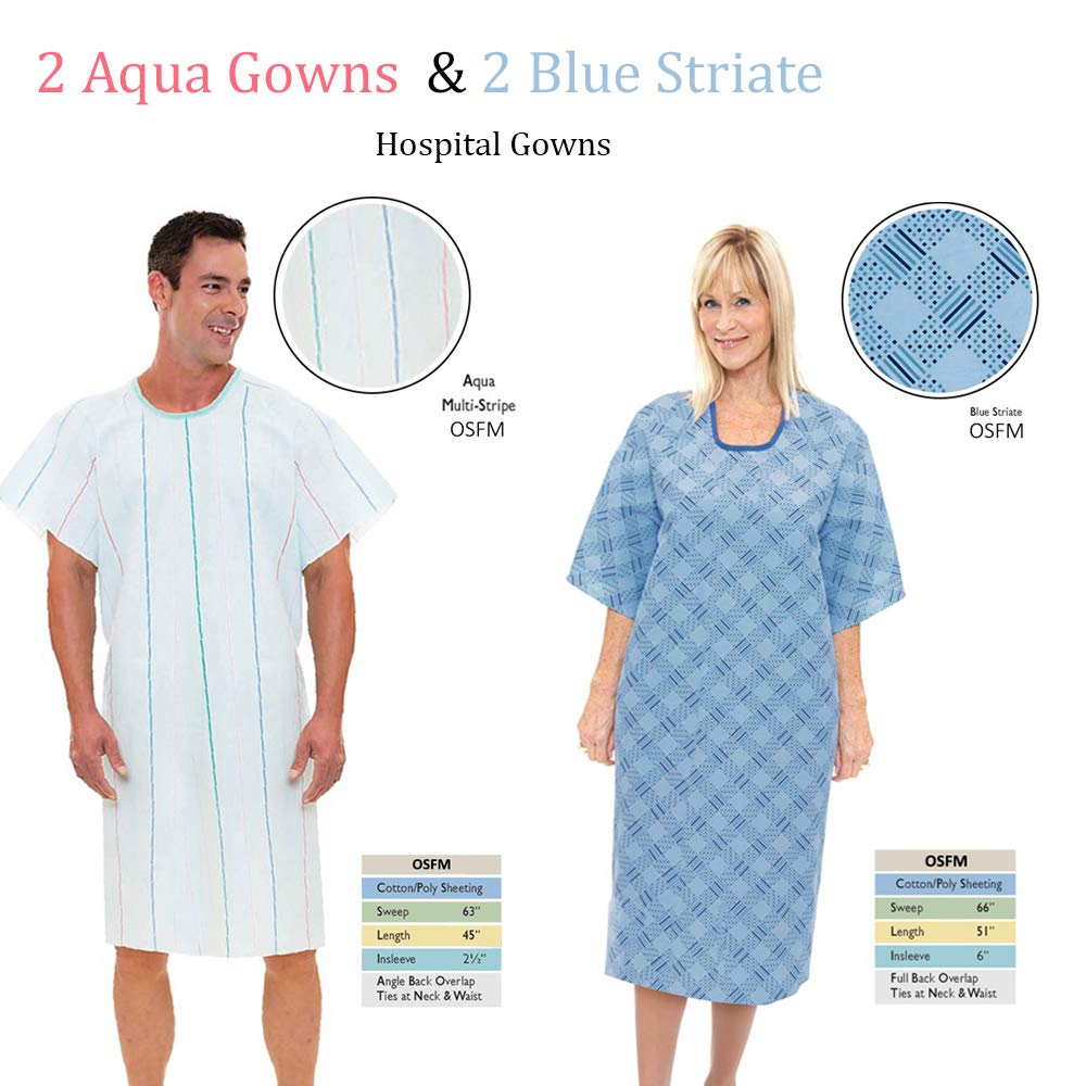 Personal Touch Angle Back Overlap Premium Patient Hospital Gown (Pack of 4) (2 Blue 2 Aqua) by Personal Touch