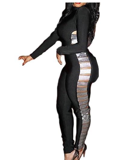 b72ee5a3a560 Keaac Women s Bodycon Club Jumpsuit Sexy Shiny Bandage Long Sleeve Romper  ...