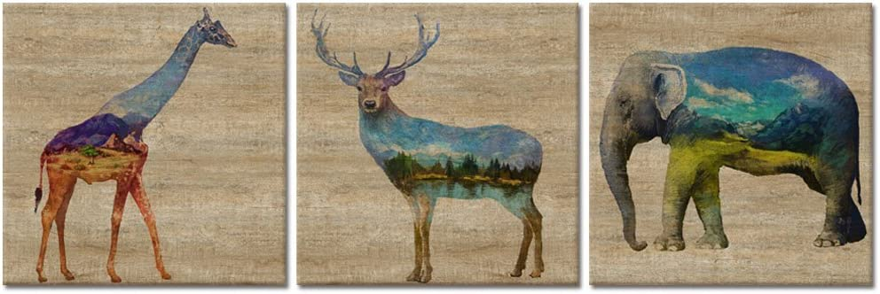 Visual Art Decor Animals Canvas Wall Art Creative Landscape Elephant Giraffe Deer Painting Prints Retro Wood Texture Background Picture Gallery Wrap for Home Bedroom Kids Room Decoration