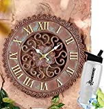 HomeCricket Gift Included- Decorative Indoor/Outdoor Deck, Porch, Or Patio Clock Garden Decor 13-3/4'' dia + FREE Bonus Water Bottle