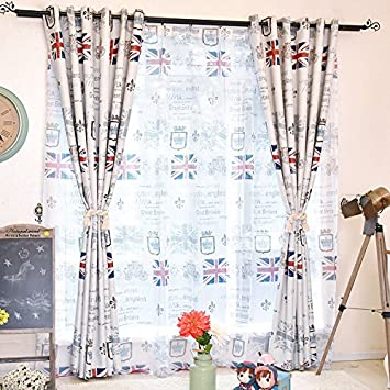 WPKIRA Fashion British Style Grommet Top Meter Word Flag Pattern Print Room Darkening Thermal Insulated Blackout Blackout Window Curtain Panel, 1 Panel W52 x L84 inch