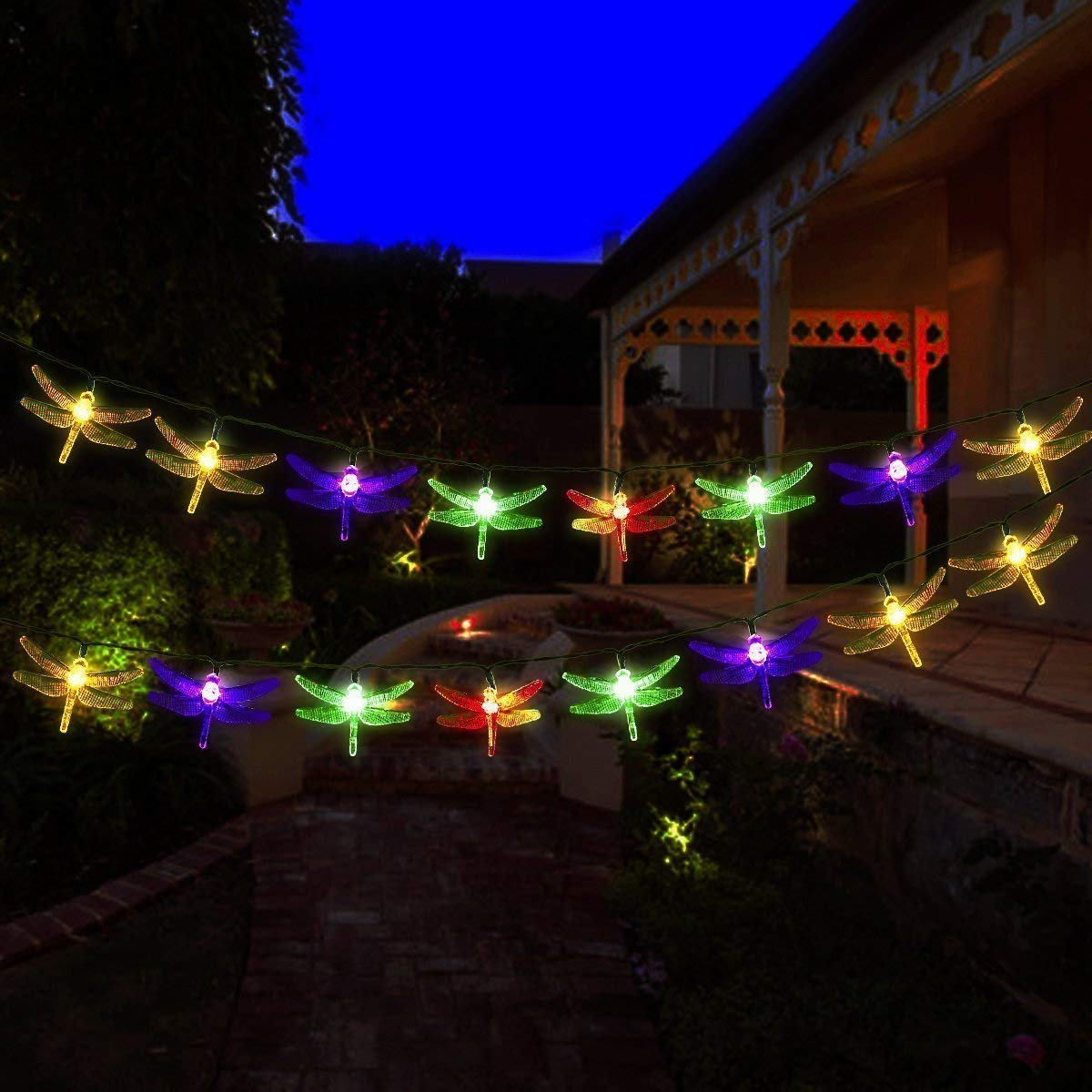 AMZSTAR Solar Powered String Lights,Waterproof 19.7ft 30LED Dragonfly Fairy Lights Decorative Lighting for Indoor/Outdoor Home Garden Lawn Fence Patio Party and Holiday Decorations (Multi-color) by AMZSTAR (Image #7)