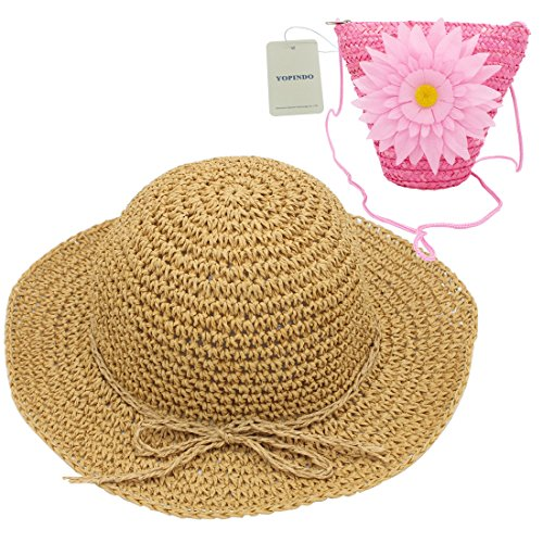 YOPINDO Hat Purse Set Straw Sun Hat Foldable Beach Cap with Bag for 2-7 Years Girl (Pink)