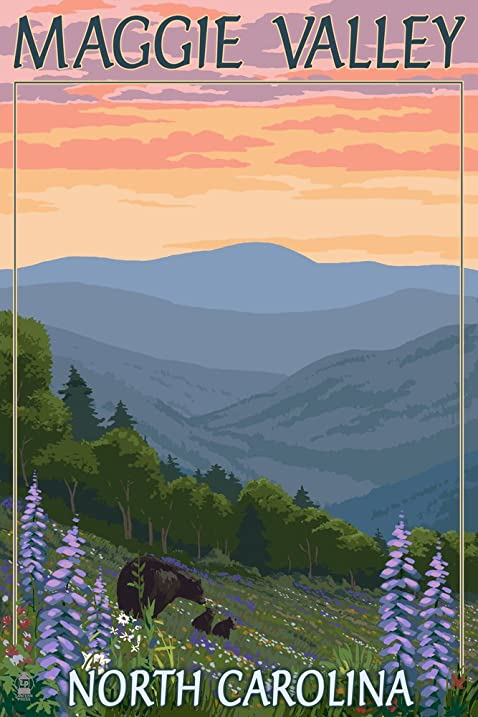 Amazon maggie valley north carolina bear family and spring maggie valley north carolina bear family and spring flowers 12x18 collectible art print mightylinksfo
