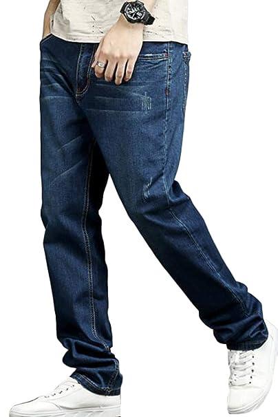 Hombre Pantalones Vaqueros De Cintura Elástica Casual ...