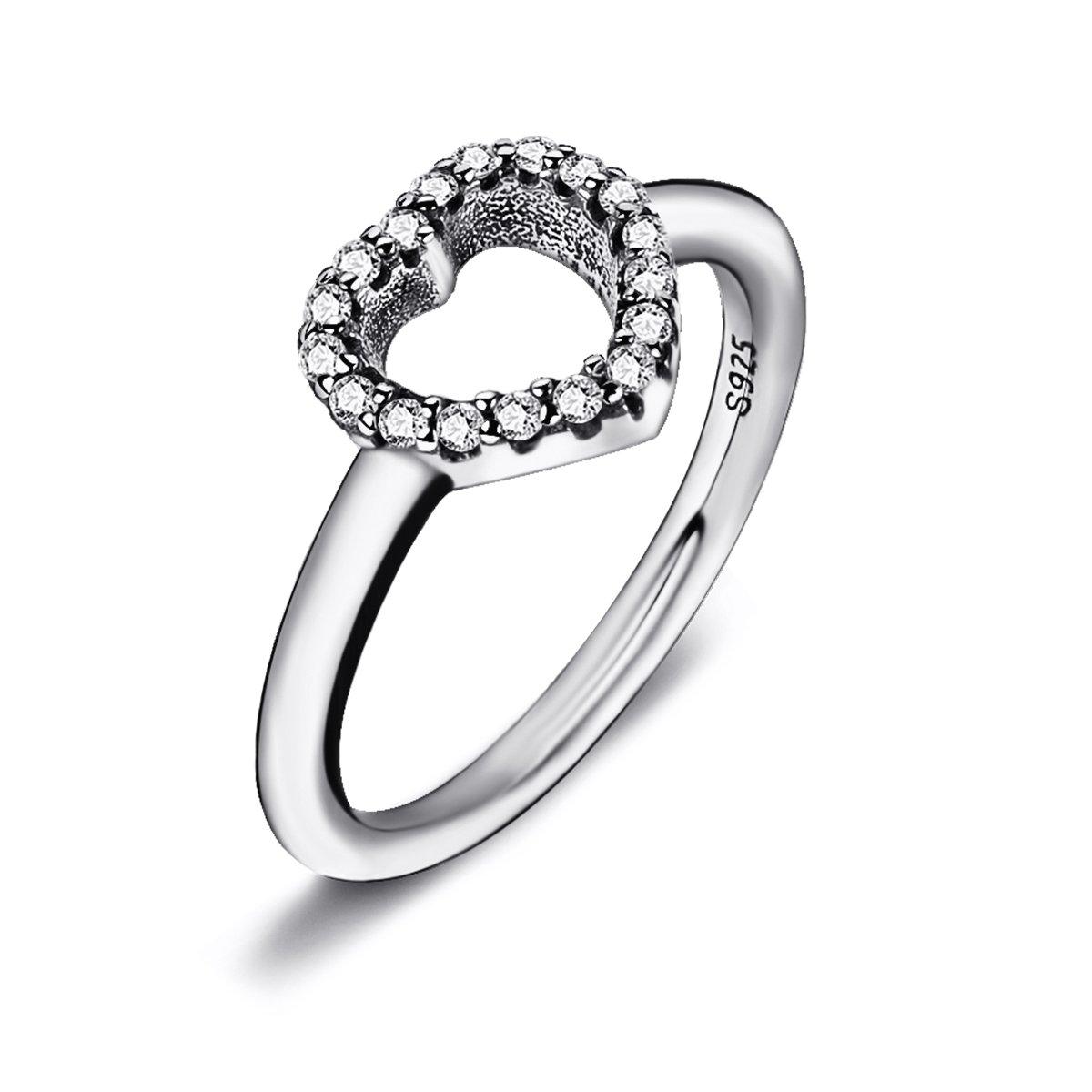 venti Plus be My Valentine argento promessa anello cuore con zirconia cubica trasparente Twenty Plus Twenty Plus ring 024